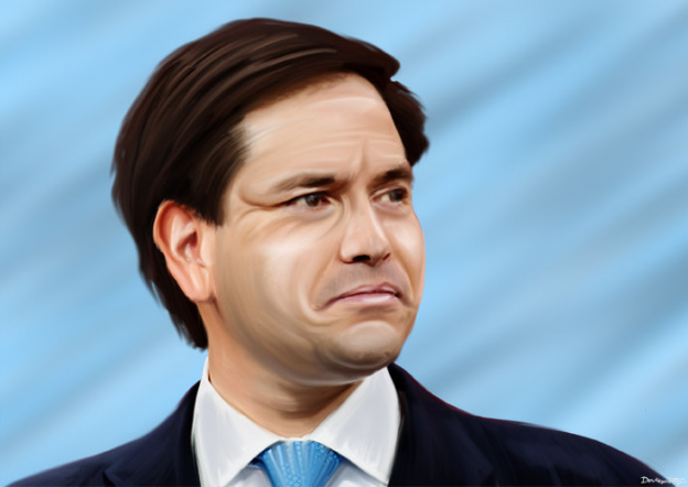 Marco Rubio blue background looking like cries donkeyhotey