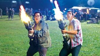 """Josh Gad and Adam Sandler battling aliens in """"Pixels"""""""
