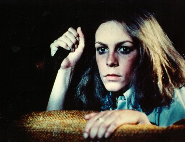 Jamie Lee Curtis in Halloween with knife