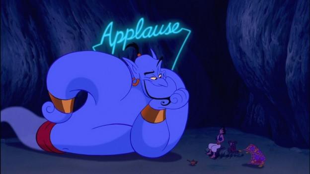 Robin Williams as Genie Aladdin applause photo