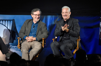 NEW YORK, NY - OCTOBER 08: (Exclusive Coverage) BRIDGE OF SPIES: THE EXCHANGE - a satellite Q&A conversation with Steven Spielberg & Tom Hanks moderated by Jess Cagle on October 8, 2015 in New York City. (Photo by Kevin Mazur/Getty Images for Walt Disney Studios) *** Local Caption *** Jess Cagle; Steven Spielberg; Tom Hanks