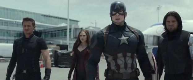 Captain America Civil War cast photo Renner Johansson Evans Sebastian Stan