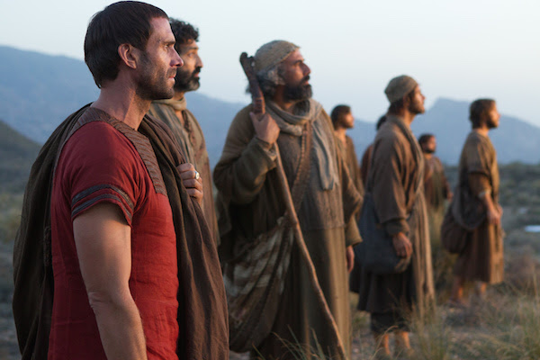 Clavius (Joseph Fiennes) and the apostles watch in awe as Yeshua leaves them