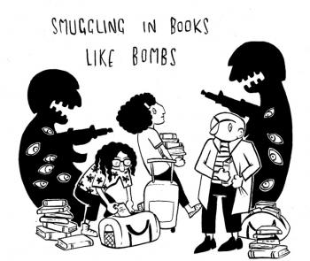 Leila Abdelrazaq smuggling books like bombs across Mexican border drawing