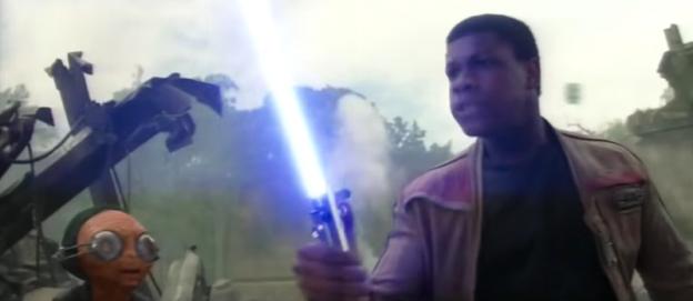 Lupita Nyong O and John Boyega as Maz and Finn Star Wars the Force Awakens