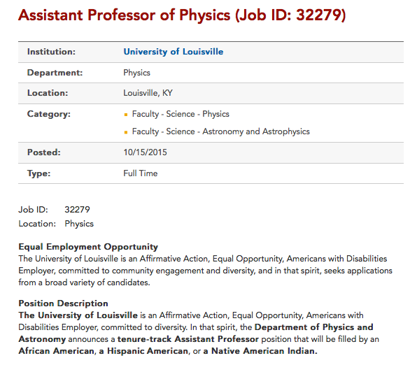 Univ Louisville job posting excluding whites from applying