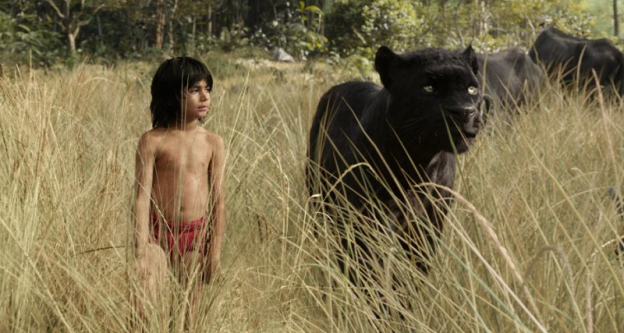the jungle book Mowgli with Bagheera Neel Sethi Ben Kinglsey