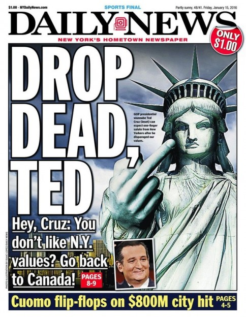 NY Daily news statue of liberty flipping off Ted Cruz Drop dead