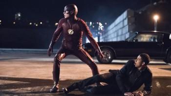 Grant Gustin as Flash alongside Lonsdale's Wally West