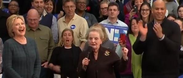 Hillary Clinton cackle Madaline Albright Corey Booker