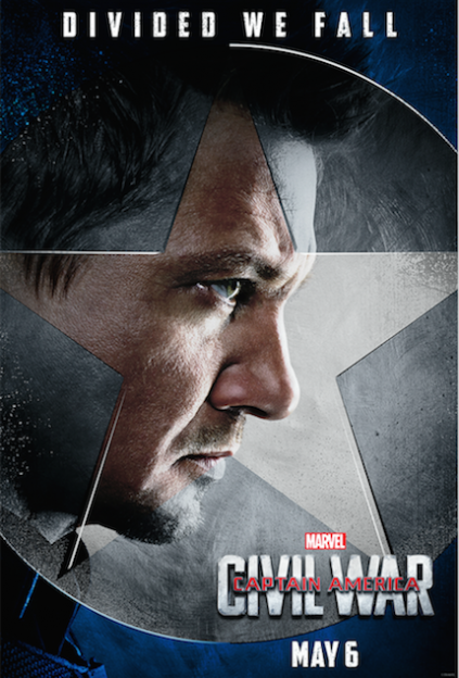 Captain America Civil War Jeremy Renner Hawkeye movie poster