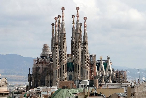 The Sagrada Familia viewed from Casa Milà, Barcelona, Spain photo/ Bernard Gagnon
