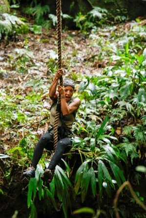 """Maria Herrera in action on """"American Tarzan"""" photo courtesy of Discovery Channel"""
