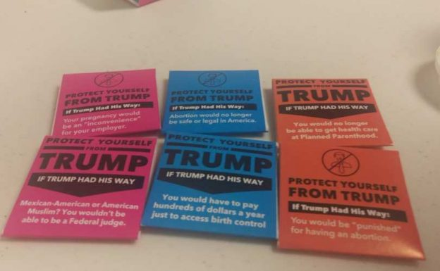 Anti-Trump condoms handed out by Planned Parenthood at the Rupublican National Convention in Cleveland