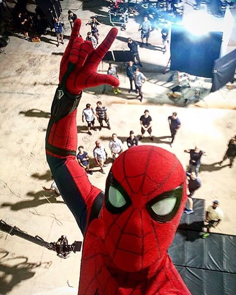 Tom Holland as Spider-Man Homecoming set photo