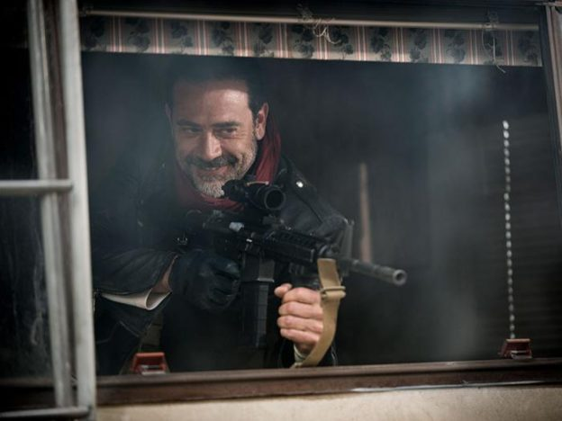 negan-enjoys-killing-walking dead season Jeffrey Dean morgan firing machine gun