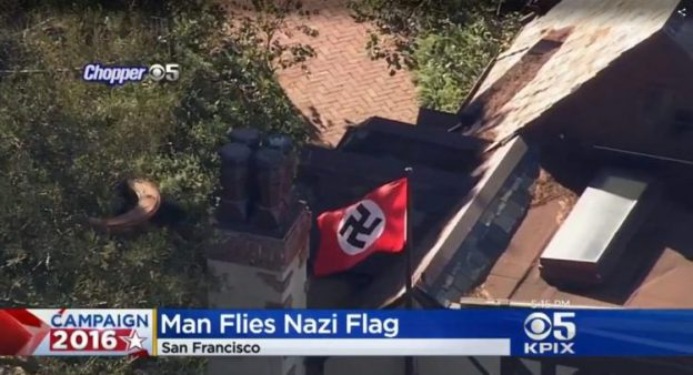 """photo screenshot of video covering San Francisco man flying Nazi flag to """"protest"""" Donald Trump"""